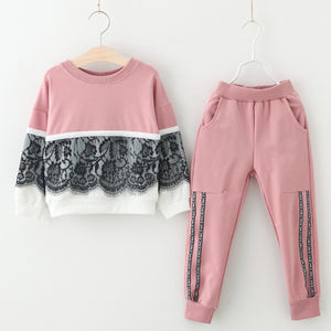 Lace Ruffle Sweater Pants Outfit (2 Colors)