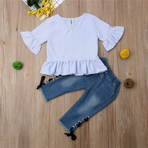 Ruffle Stripe Top & Denim Lace Up Jeans Set