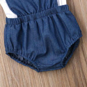 Lace T-Shirt Denim Romper Pants Outfit
