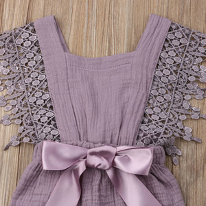 Lace Bow Romper (Multiple Colors)