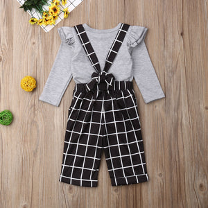 Ruffle Plaid Overalls Outfit