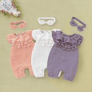 Ruffled Romper with headband u1