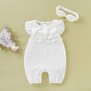 Ruffled Romper with headband d1