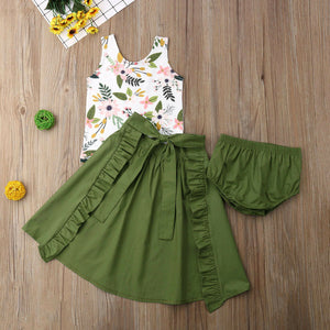 Floral Top with Olive Green Shorts & Ruffled Maxi Skirt Set