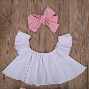Ruffle Top Lace Pants Bow Headband Outfit