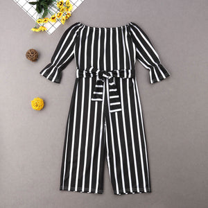 Striped Off Shoulder Flared Jumpsuit