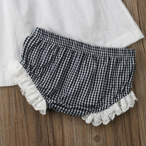 Sleeveless Ruffle Dress Plaid Bloomers Outfit