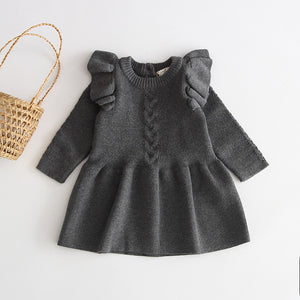Frilled Sleeves Knitted Dress