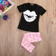 Lips T-Shirt Eyelash Pants Outfit