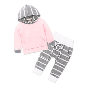 Striped Hooded Sweatshirt And Pants Outfit (2 Colors)