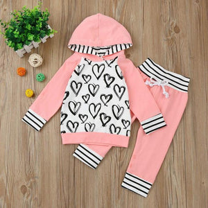 Pink Heart Hoodie Pants Outfit
