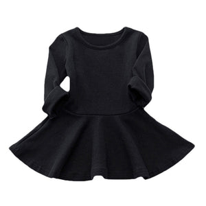 Long-Sleeve Pleated Cotton Dress