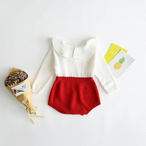 Knit-Bottom Romper With Frill Neck