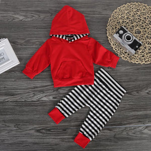 Red Hoodie Striped Pants