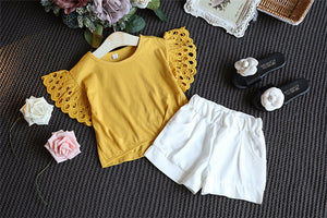 2pcs Shorts and Frill Shirt Set