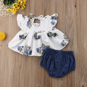Blue Floral Swing Blouse Bloomer Pants Outfit