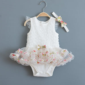 Summer Lace Tutu Dress with Matching Headband (Multiple Colors)