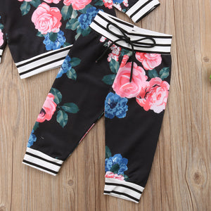 Floral Sweatshirt Pants Headband Outfit