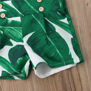 Green Camouflage Sleeveless Jumpsuit