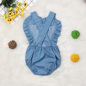 Girl Heart Ruffled Romper