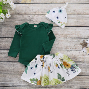 Green Ruffled Onesie Floral Flare Skirt + Hat Outfit
