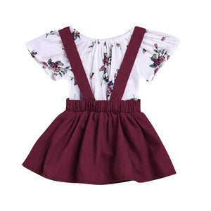 2pcs Suspender Skirt Set