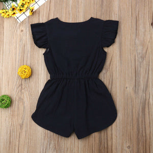 Ruffle Sleeve Bow Waist Shorts Romper (2 Colors)