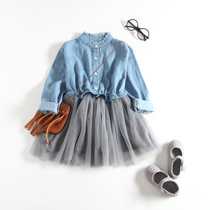 Long-sleeve Denim Tutu Dress