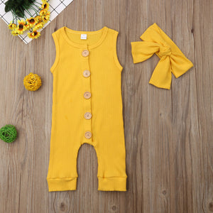 Sleeveless Onesie Bow Headband Outfit