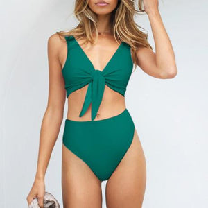 High Waist Sexy Bow Split Swimsuit