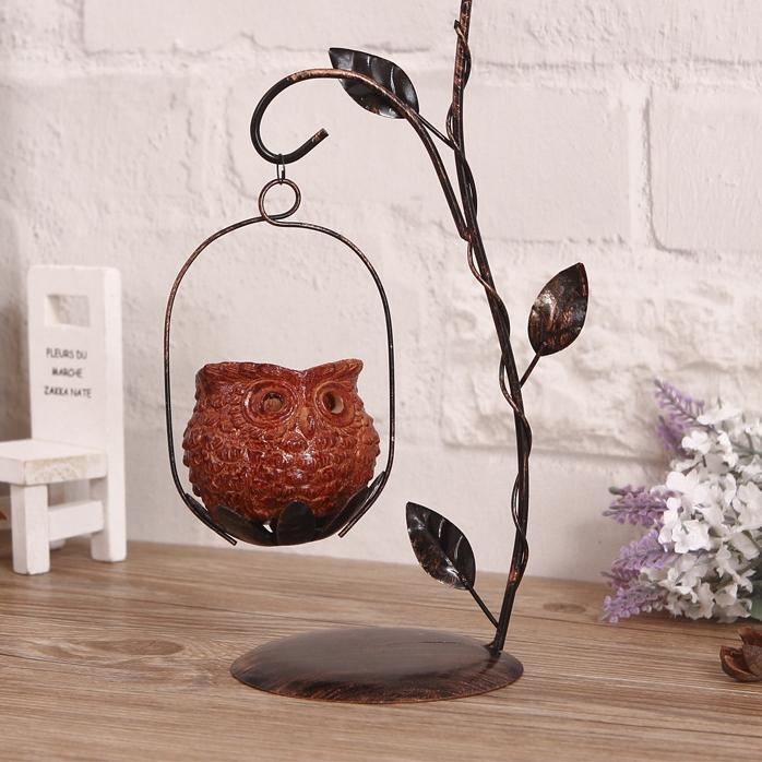 Owl Iron Candlestand