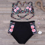 High Waist Bloom Split Bikini