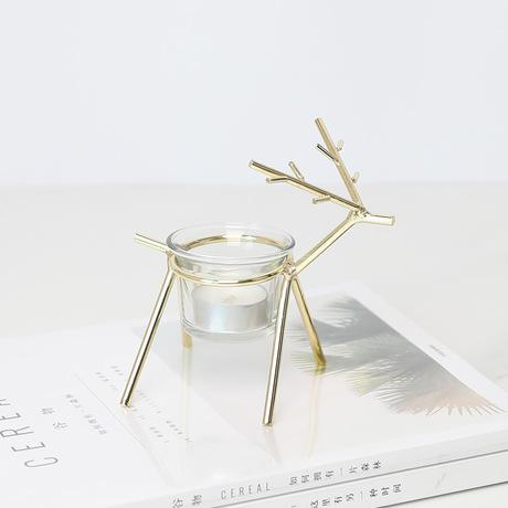 Iron Deer Glass Cup Candlestand