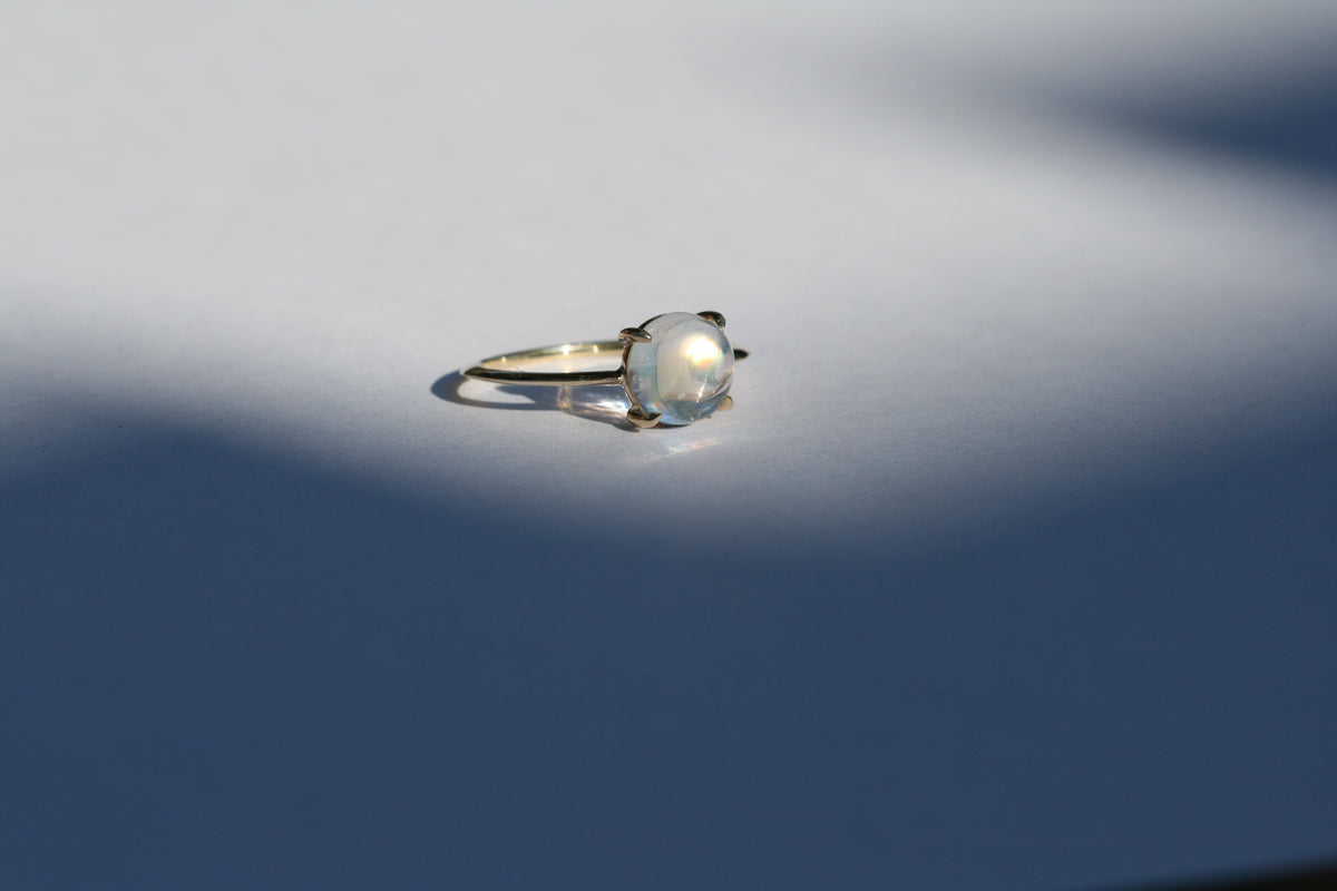 rainbow moonstone claw ring