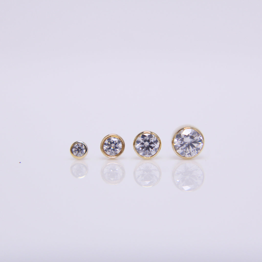BVLA Round Bezelset Gem Pushpin End