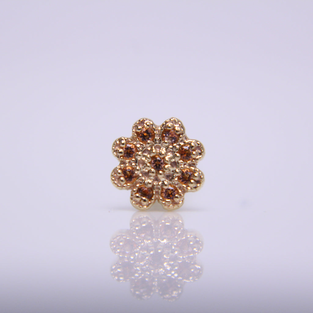 BVLA 9 Gem Millgrain Flower Pushpin End