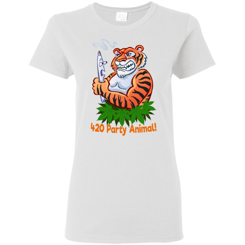 420 Tiger Party Animal G500L Gildan Ladies' 5.3 oz. T-Shirt