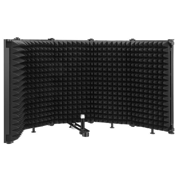 "Tabletop Compact Microphone Isolation Shield, Foldable 3/8"" and 5/8"" Threaded Mount"