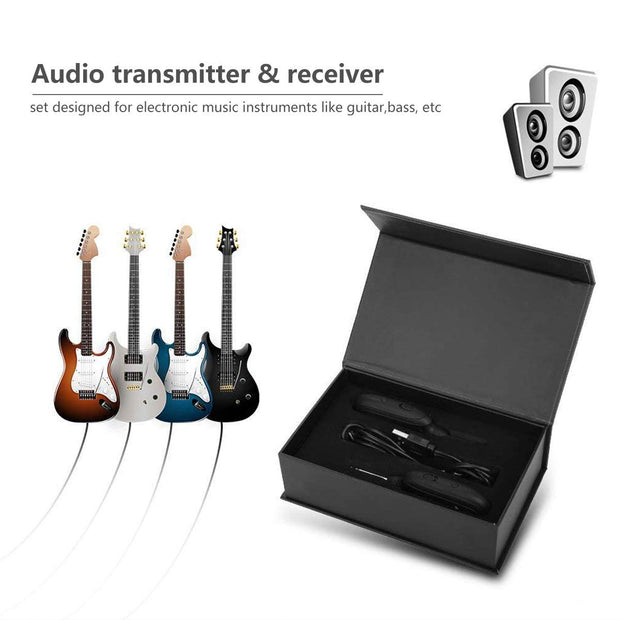 Wireless Guitar System, Wireless Guitar Transmitter Receiver 4 Channels Audio Transmitter Receiver for Electric Guitar Bass Violin Guitar Solo Guitarist Guitar Player