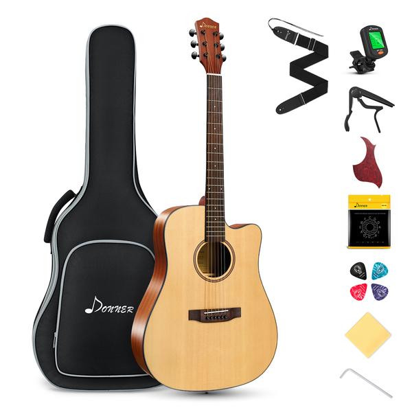41'' Cutaway Acoustic Guitar Full Size Spruce Guitar Bundle with Gig Bag Tuner Accessories Full Starter Kit
