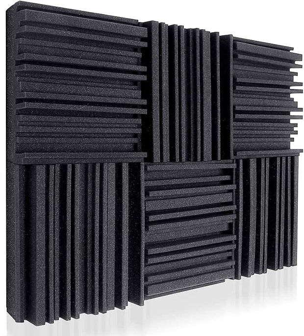 Acoustic Studio Absorption Foam Panel 12 Pack 2'' X 12'' X 12'' Broadband Sound Absorber
