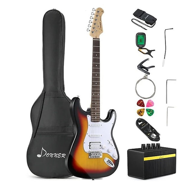 39 Inch DST-1S Solid Full-Size Electric Guitar Kit with Amplifier