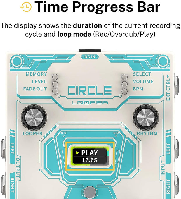 Circle LOOPER & Drum Machine Guitar Effect Pedal