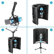 Pop Filter Microphone Isolation Shield + Tripod