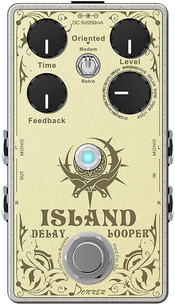 Island Multi-function Delay Guitar Effect Pedal, Multi-type Delay and Looper Pedal