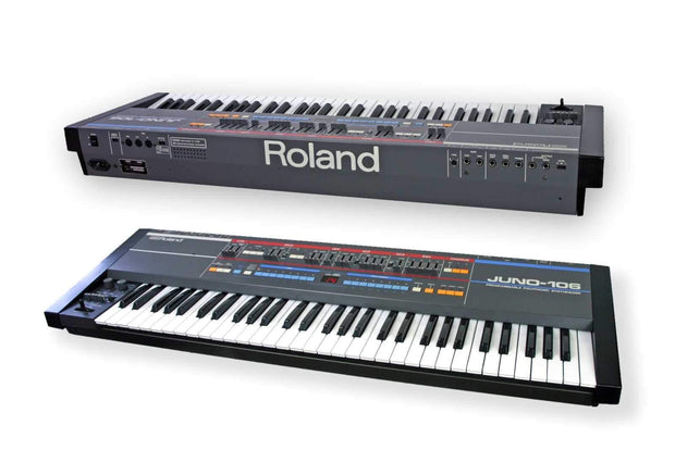 ROLAND Juno 106 61-key keyboard front and rear view custom thick handmade padded cover with velvet interior