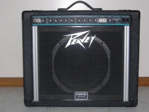 Custom padded cover for PEAVEY Bandit 112 Solo circa '81 model teal/blue stripe