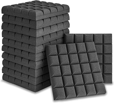 "12 Pack Set 2"" X 12"" X 12"" Acoustic Foam Panels Bread Style Tiles, Sound Panels wedges Soundproof"