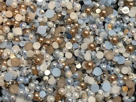 2-12mm 'Cream Soda' Mixed Pearls and Rhinestones Resin Round Flat Back Loose