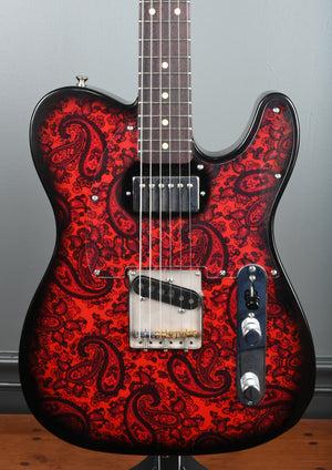 Crook Telecaster Black & Red Sparkle Paisley